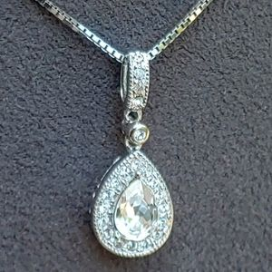 Jewelry - Sterling Silver Pear Clear CZ Necklace